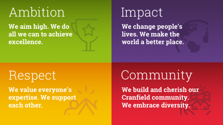 Infographic showing Cranfield's four core values