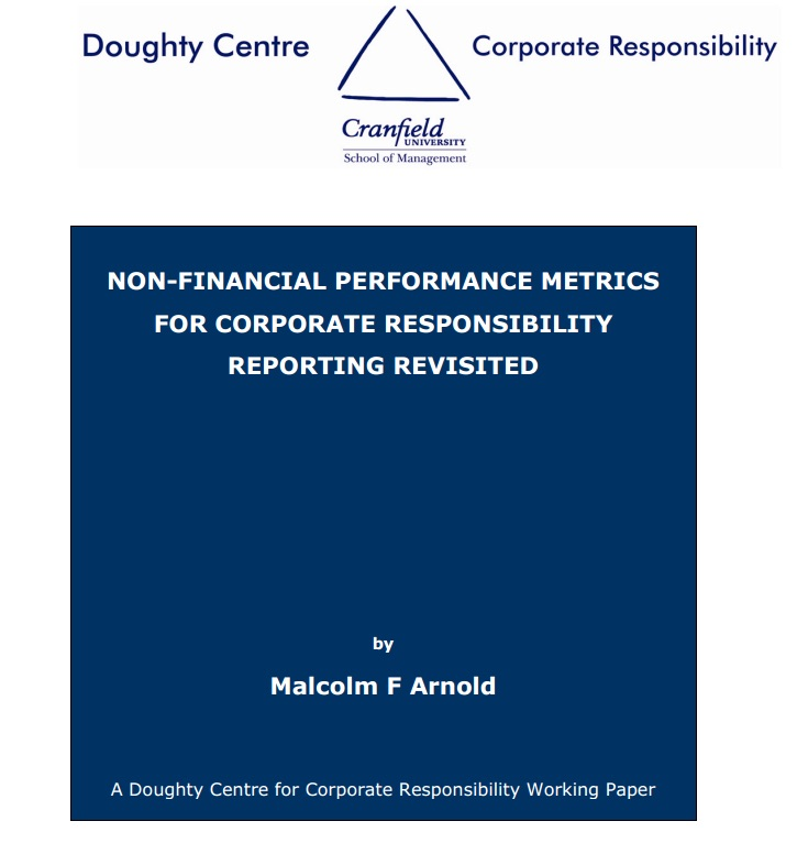 Working Paper - Non-Financial Performance Metrics for CR - cover