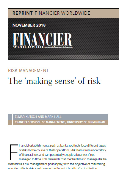 The 'making sense' of risk in the finance industry