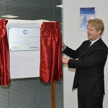 Unveiling the building name plaque