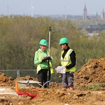 Two colleagues on the Dig Hill 80 site