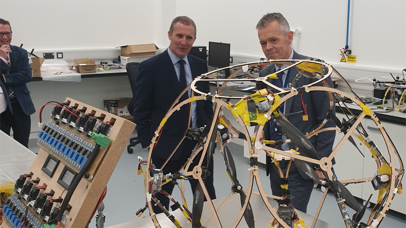 Tim Mackley and Michael Matheson visit the UAV lab in the AIRC building