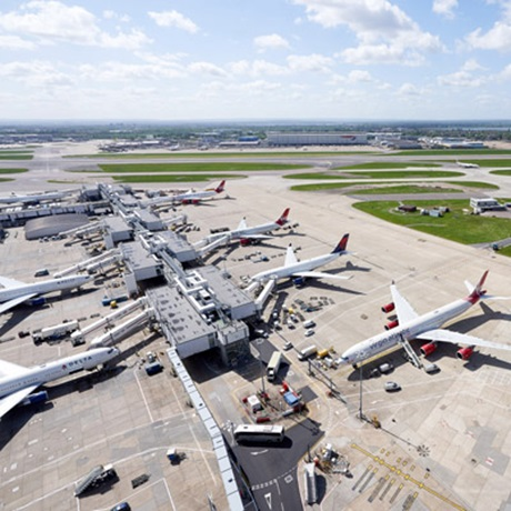 Planes on runway at Heathrow Airport