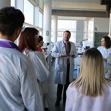 visitors on a tour of the Agrifood lab