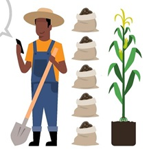 concept image of farmer with plant