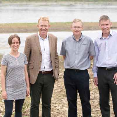 •	Left to right: Dr Monica Rivas Casado (Cranfield University), Countryfile's Adam Henson, Phil Bowsher (The Parks Trust) and David Weeks (Hanson UK) at the Floodplain Forest Nature Reserve official launch.