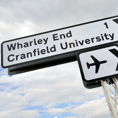 Cranfield University road sign