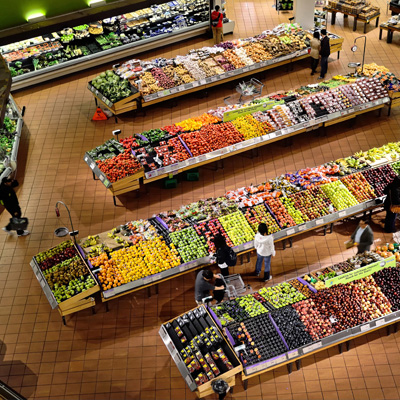 Supermarket produce from above