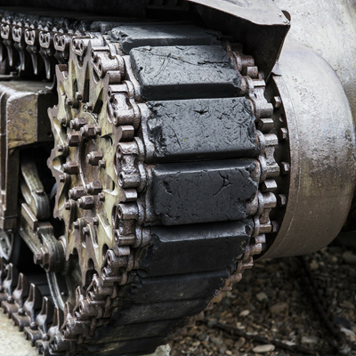 Armored tank wheel tracks