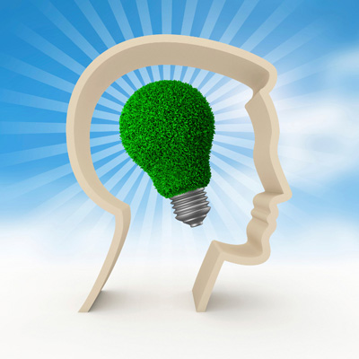 green lightbulb in head