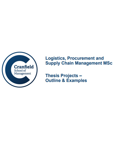 Supply Chain Management MSc Student Projects