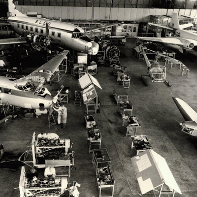 An archive photograph of Cranfield's aircraft hangar