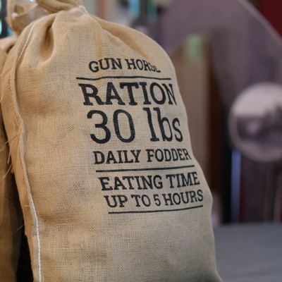 Ration bag at the war horse exhibition