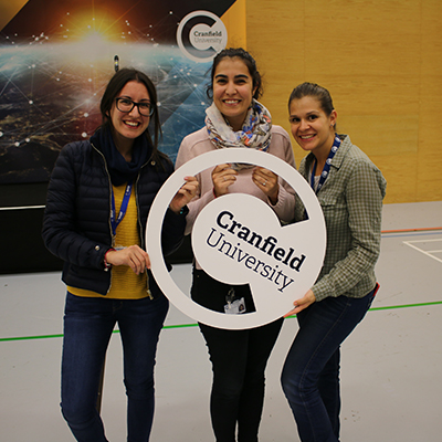 Three female students at Cranfield University welcome week