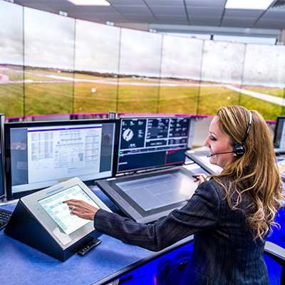 Air traffic controller at desk