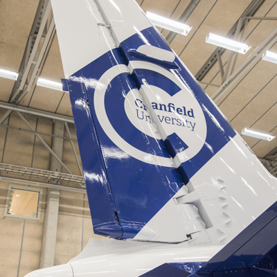 Aircraft tail with Cranfield marque