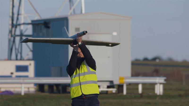 Blue Bear employee operating UAV