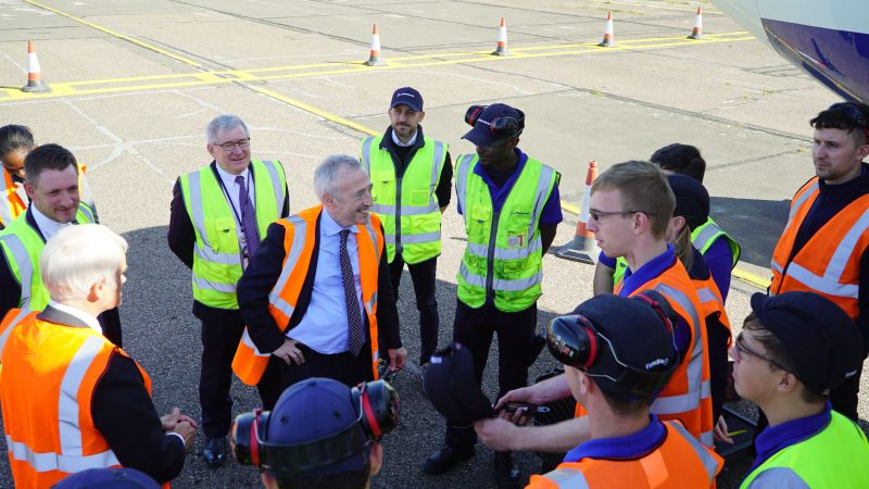 Sir Martin Donnelly with Boeing apprentices at Cranfield in 2019