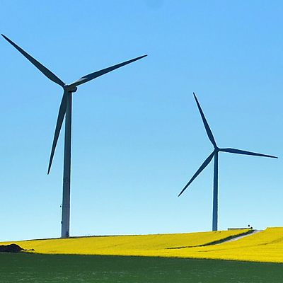 Two wind turbines in a crop field.