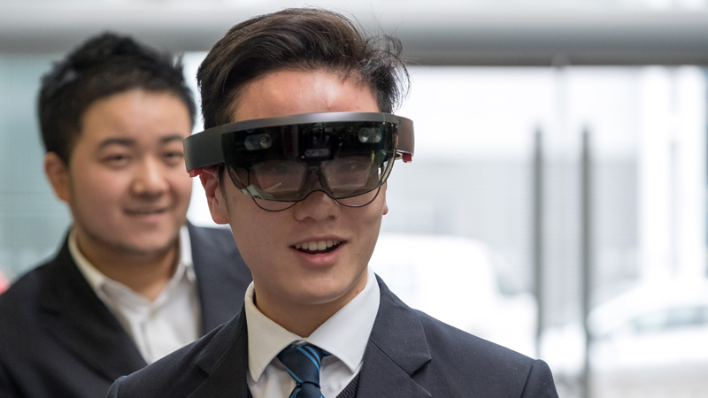 Student tries out augmented reality glasses