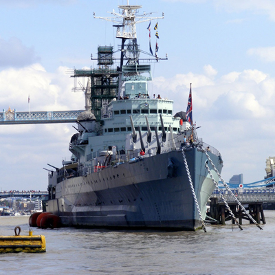 Royal navy ship in the river thames