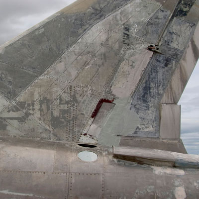 Fatigued aircraft tail fin
