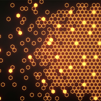 Abstract yellow hexagons on black background