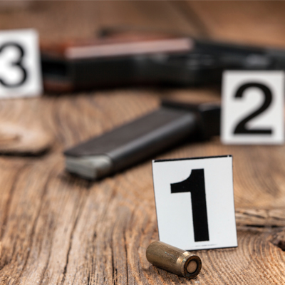 numbered evidence bullets and guns