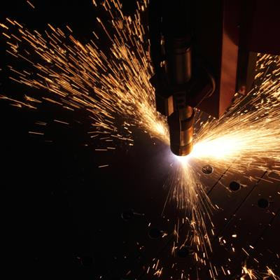 Sparks coming off a piece of engineering equipment